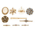 Estate Jewelry:Brooches - Pins, Diamond, Shell Cameo, Black Onyx, Glass, Enamel, Gold Jewelry. ... (Total: 10 Items)