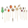 Estate Jewelry:Stick Pins and Hat Pins, Diamond, Multi-Stone, Glass, Enamel, Platinum, Platinum-Topped Gold, Gold Jewelry. ... (Total: 15 Items)