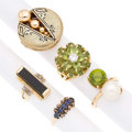 Estate Jewelry:Rings, Multi-Stone, Diamond, Cultured Pearl, Enamel, Gold Rings. ... (Total: 5 Items)