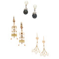 Estate Jewelry:Earrings, Cultured Pearl, Diamond, Gold Earrings. ... (Total: 6 Items)