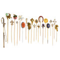 Estate Jewelry:Stick Pins and Hat Pins, Diamond, Multi-Stone, Freshwater Pearl, Seed Pearl, Micromosaic, Enamel, Glass, Gold, Base Metal Stickpins. ... (Total: 20 Items)