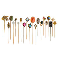Diamond, Multi-Stone, Freshwater Pearl, Seed Pearl, Enamel, Glass, Gold, Base Metal Stickpins