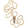 Estate Jewelry:Necklaces, Victorian Hardstone Cameo, Seed Pearl, Gold Mourning Slide Chain....