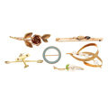 Estate Jewelry:Brooches - Pins, Multi-Stone, Cultured Pearl, Seed Pearl, Enamel, Gold Brooches. ... (Total: 6 Items)