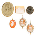 Estate Jewelry:Cameos, Hardstone Cameo, Lava Cameo, Shell Cameo, Gold, Base Metal Jewelry.... (Total: 6 Items)