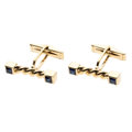 Estate Jewelry:Cufflinks, Sapphire, Gold Cuff Links. . ... (Total: 2 Items)