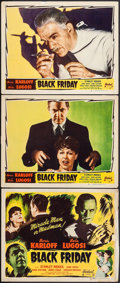 """Movie Posters:Horror, Black Friday (Realart, R-1947). Title Lobby Card & Lobby Cards (2) (11"""" X 14""""). Horror.. ... (Total: 3 Items)"""