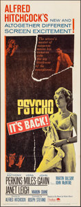 """Movie Posters:Hitchcock, Psycho (Paramount, R-1965). Insert (14"""" X 36""""). Hitchcock.. ..."""