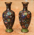 Asian:Japanese, A Pair of Japanese Cloisonné Vases, late 20th century. 8-3/4 incheshigh (22.2 cm). ... (Total: 2 Items)