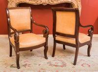 A Pair of Empire-Style Leather Upholstered Mahogany Fauteuils 37 h x 24 w x 21 d inches (94.0 x 61.0 x 53.3 cm)