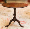 Furniture , A George III Mahogany Tilt-Top Tea Table, late 18th century. 28-1/2 h x 33 w x 32-3/4 d inches (72.4 x 83.8 x 83.2 cm). ...