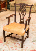 Furniture , A Chippendale-Style Upholstered Mahogany Armchair, early 20th century. 41 h x 25 w x 21 d inches (104.1 x 63.5 x 53.3 cm). ...