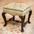 Furniture : English, A Queen Anne-Style Upholstered Mahogany Stool, late 19th century.18 h x 20 w x 18 d inches (45.7 x 50.8 x 45.7 cm). ...