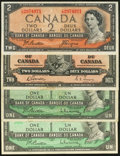 Canadian Currency: , A Quartet of Notes from Canada.. ... (Total: 4 notes)