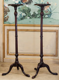 Decorative Arts, British:Other , A Pair of George III-Style Mahogany Candle Stands, mid to late 19thcentury. 53-3/4 inches high (136.5 cm). ... (Total: 2 Items)