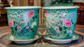 Asian:Chinese, A Pair of Chinese Polychrome Porcelain Jardinières withUnderplates. Marks to underplate: (qianlong mark). 14-1/4 incheshig... (Total: 4 Items)