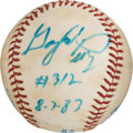 Baseball Collectibles:Balls, 1983 Gaylord Perry Game Used, Signed Baseball from #312 Win. ...