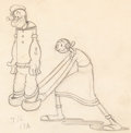 Animation Art:Production Drawing, Dizzy Divers Popeye and Olive Oyl Animation Drawing (Max Fleischer, 1935).. ...