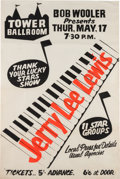 Music Memorabilia:Posters, Jerry Lee Lewis Tower Ballroom Concert Poster (1962)....