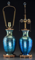 Art Glass:Other , Two Durand Threaded Blue Lustre Glass and Gilt Metal Table Lamps.Circa 1910. Ht. 26-1/4 in.. ... (Total: 2 Items)