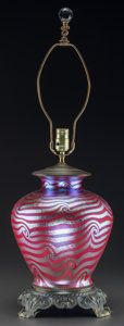 Art Glass:Other , Durand Red Feather-Pulled Lustre Glass and Metal Table Lamp. Circa1910. Ht. 29 in. (tallest). ...