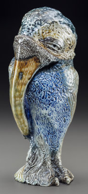 Large Martin Brothers Glazed Stoneware Grotesque and Long Beaked Bird Jar and Cover Circa 1884. Engraved to base