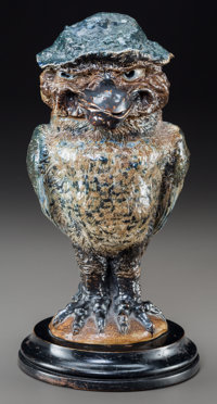 Martin Brothers Glazed Stoneware Leering Hatter Bird Jar and Cover Circa 1888. Signed along base and lid R.W. M