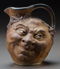Ceramics & Porcelain, British:Modern  (1900 1949)  , Martin Brothers Glazed Stoneware Grotesque Double-Sided Face Jug.Circa 1911. Signed to underside R. W. Martin & Bros,Lon...