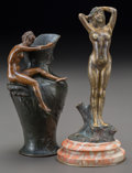 Bronze:European, Two Art Nouveau Bronze Female Nudes. Early 20th century. Tallersigned J. Carnier. Ht. 6-3/4 in.. ... (Total: 2 Items)