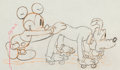 Animation Art:Production Drawing, Society Dog Show Mickey Mouse and Pluto Animation Drawing (Walt Disney, 1939).. ...