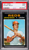Baseball Cards:Singles (1970-Now), 1971 Topps Johnny Bench #250 PSA Mint 9 - Pop Six, None Higher. ...