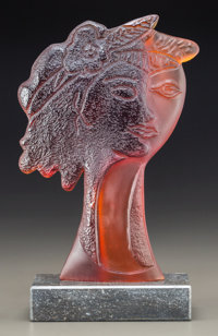 Limited Edition Daum Amber Glass Sculpture by Georges Braque: Persephata Raised marble plint
