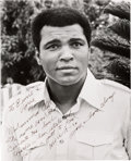 Movie/TV Memorabilia:Autographs and Signed Items, An Ernest Borgnine-Received Inscribed Black and White Photograph ofMuhammed Ali, 1976....