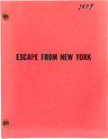 "Movie/TV Memorabilia:Documents, An Ernest Borgnine Script from ""Escape from New York.""..."