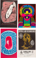 Music Memorabilia:Posters, Jefferson Airplane/13th Floor Elevators - Group of Four Handbills(Family Dog/Bill Graham, 1966/67)....