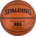 Basketball Collectibles:Balls, 1973 New York Knicks Multi-Signed Leather NBA Basketball....