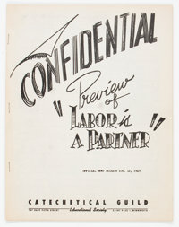 Labor Is A Partner Confidential Preview File Copy (Catechetical Guild, 1949) Condition: VF-