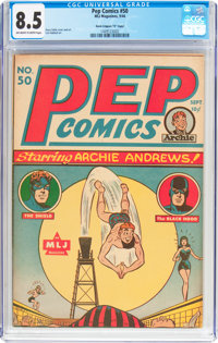 "Pep Comics #50 Davis Crippen (""D"" Copy) Pedigree (MLJ, 1944) CGC VF+ 8.5 Off-white to white pages"