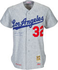 Baseball Collectibles:Uniforms, 1990's Sandy Koufax Signed Los Angeles Dodgers Jersey....