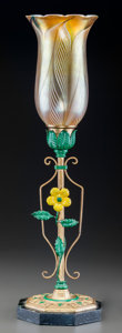 Art Glass:Other , American Painted Metal and Iridescent Glass Lamp. Circa 1910-1920.Ht. 18-7/8 in.... (Total: 2 Items)