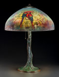 Art Glass:Other , Handel Reverse Painted Glass and Bronzed Metal Henry BedigieParrot Table Lamp. Circa 1921. Painted and stamped ...