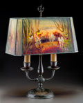 Art Glass:Other , Handel Reverse Painted Glass and Bronze Aquarium Table Lamp.Circa 1910. Stamped HANDEL 7969; 2816. Ht. 20-1...