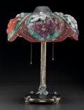 Art Glass:Other , Pairpoint Reverse Painted Glass and Metal Floral Puffy Lamp.Circa 1900. Stamped PAIRPOINT MFG. CO., P, 3093, 1/...