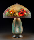 Art Glass:Other , Jefferson Reverse Painted Glass and Metal Floral Table Lamp. Circa1915-1920. Shade coupling stamped Jefferson. Ht. 21-1...