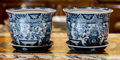Asian, A Pair of Chinese Blue and White Porcelain Jardinières withUndertrays. 8 h x 6 w x 6 d inches (20.3 x 15.2 x 15.2 cm). ...(Total: 2 Items)