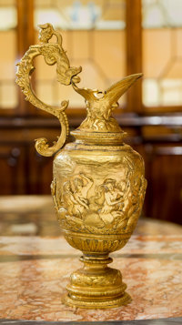 A Grand Tour Gilt Metal Ewer, early 20th century 14-1/2 inches high (36.8 cm)