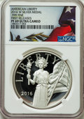 Modern Bullion Coins, 2016-W Medal American Liberty, First Release, PR69 Ultra Cameo NGC. .9999 Fine Silver. PCGS Population: ...