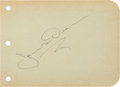 Movie/TV Memorabilia:Autographs and Signed Items, A James Dean Signature, Circa 1955. ...