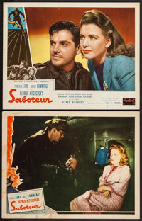 """Saboteur (Universal & Realart, 1942 & R-1948). Lobby Cards (2) (11"""" X 14""""). Hitchcock. ... (Total: 2 I..."""