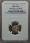 Bust Dimes: , 1834 10C Small 4 -- Improperly Cleaned -- NGC Details. AU. NGCCensus: (14/206). PCGS Population: (20/147). CDN: $360 Whsle...